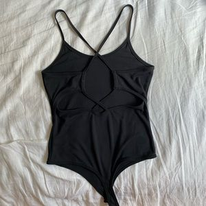 Dark grey criss-cross back bodysuit